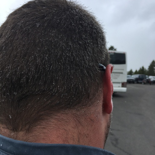snowflakes on Brad's head