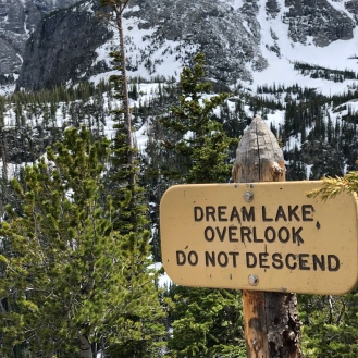 Dream Lake Overlook sign